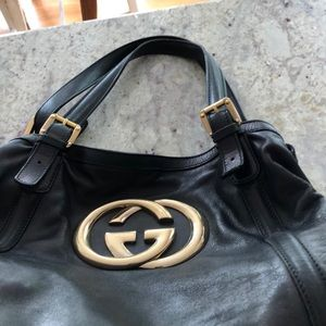 Gucci black leather hand bag